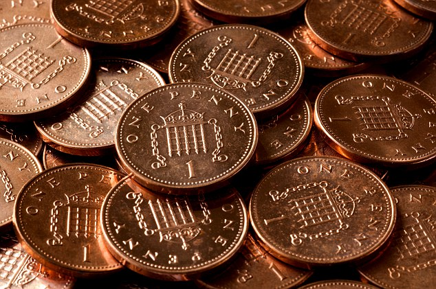 British one penny coins. Image shot 2009. Exact date unknown.